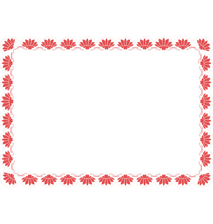 guideline: Rectangular border illustrated with decorative fan of Japanese style, with half circle lines on the outside as a guideline if needed the shape.