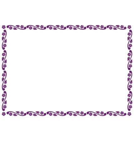 Rectangular frame illustrated with decorative flowers.