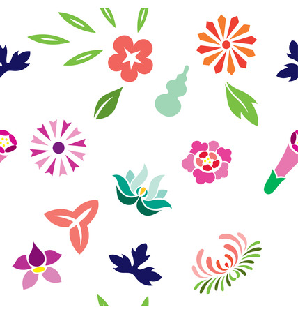 wallpapering: Seamless pattern of varieties of flowers illustrated in Japanese style.