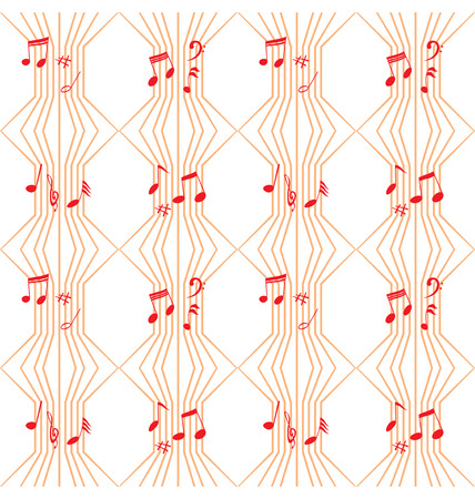 Illustration of music notes on lines that created seamless pattern. Stock Vector - 6903697