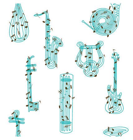 Varieties of music instruments, illustrated with lines and notes and created seamless pattern. Stock Vector - 6903703