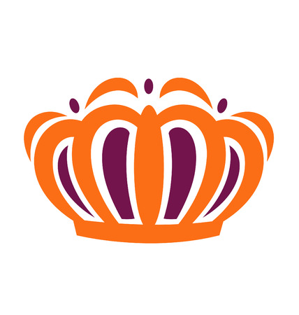 Kings crown illustrated with orange and purple.