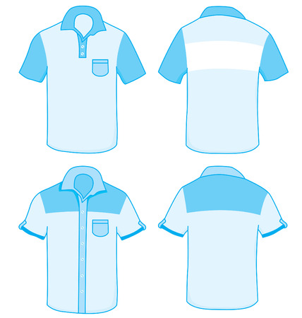 backview: Two shirt design template, front and back each.