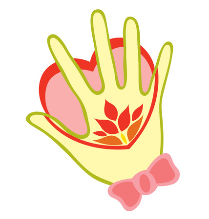 A right hand with ribbon and some flower tattoo, touching a heart.