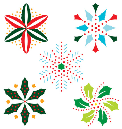 Christmas snowflake illustrated with leaf and fruit.