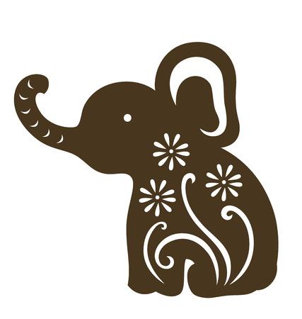 silhouettes elephants: Elefante decorativos ilustrado con papel cortado de estilo.