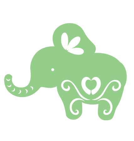 Decorative elephant illustrated with paper cut style.