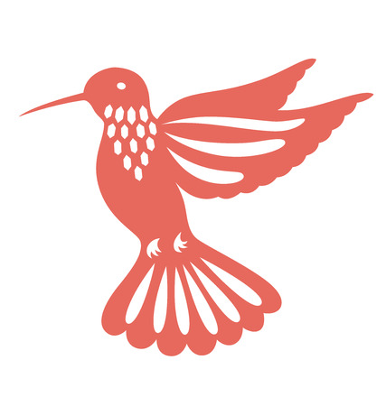 Decorative humming bird illustrated with paper cut style. Illustration