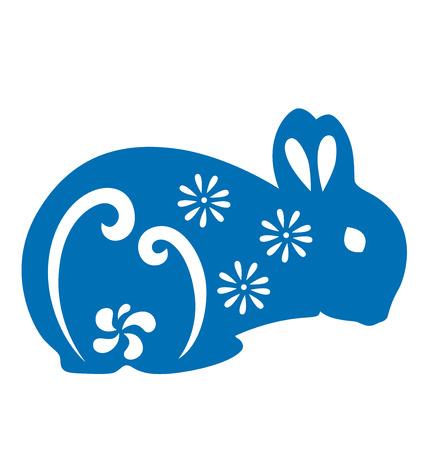 silhouette lapin: Silhouette de lapin illustré avec du papier coupé de style. Illustration