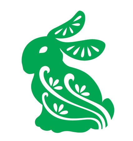 silhouette lapin: Silhouette de lapin illustré avec papier style de couper.