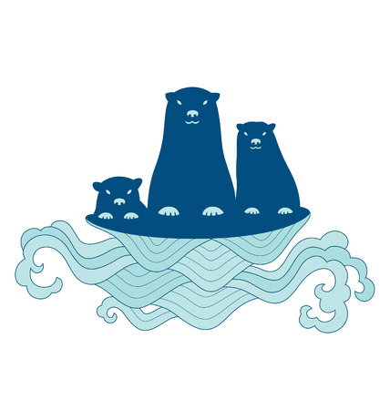 sea otter: Sea otter family illustrated with simple line and elaborate lines of wave below it.