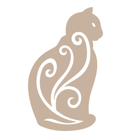 Cat silhouette sitting side view illustrated with organic shape on the body.