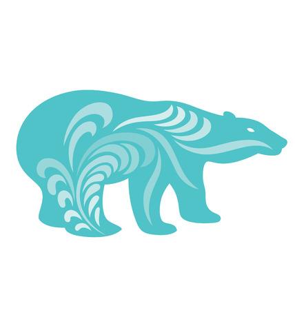 bear silhouette: Orso polare silhouette illustrati con forme organiche che scorre intorno al corpo.