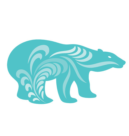 Polar bear silhouette illustrated with organic shapes flowing around the body. Illustration