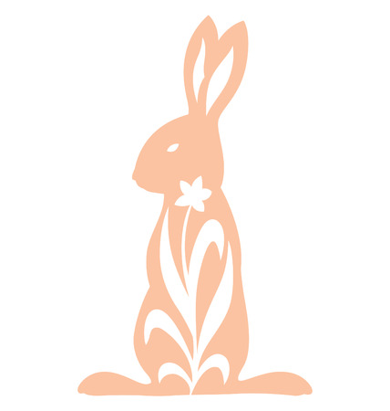 Rabbit silhouette standing illustrated with growing flower. Illustration