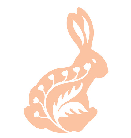 Rabbit silhouette from the back illustrated with some organic decoration.
