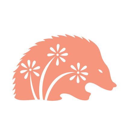 porcupine: Porcupine Silhouette with decorative flowers on the body.