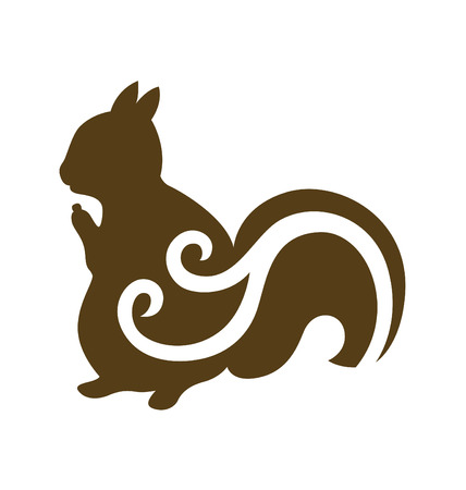 Squirrel silhouette with decorative swirl on the body.