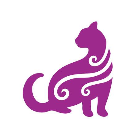 silueta de gato: Una silueta de gato decorado con algunos vista lateral de remolino  Vectores
