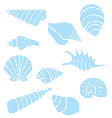 Variety of sea shells collection in silhouette. Vector