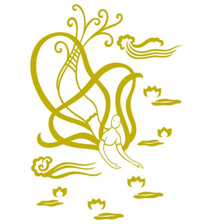 water lilies: Un �ngel de vuelo oriental ilustrado con nubes y nen�fares flotando en el cielo. Vectores