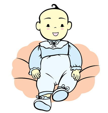 bautizo: Un ni�o peque�o de beb� sonriente listos para bautizo.