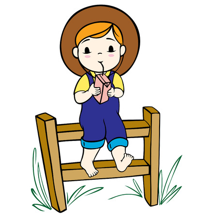 ranchers: A little girl relaxing in the nature drinking her beverage. Illustration