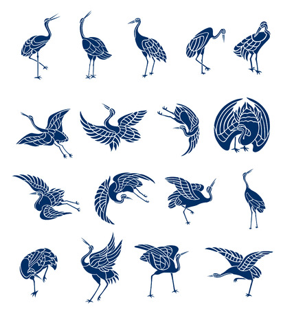 Illustrations of herons in variety of moves and shapes. Illustration