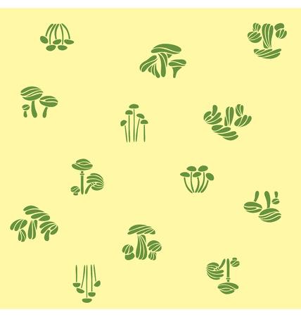 wallpapering: Seamless pattern of mushrooms decoration. Illustration