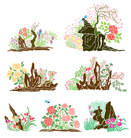 Variety of oriental nature. Vector