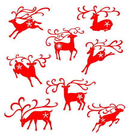 Christmas reindeer illustrated in many moves decorated with snow flakes.
