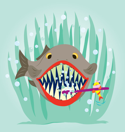 A small fish is cleaning a big fish teeth. Stock Vector - 8209181