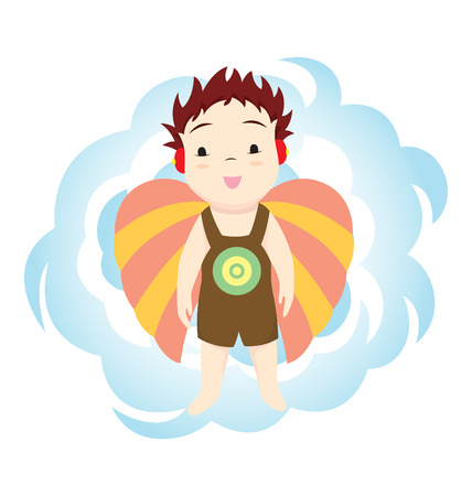 stereotypes: A little boy with wings and cloud as background. Illustration