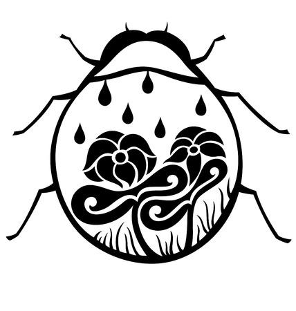 lady bug: Eine dekorative Marienk�fer, dekoriert mit Bl�ten und Bl�tter