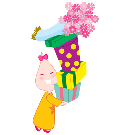 preset: A little girl character holding a lot of preset with a bunch of flowers on top of it. Illustration