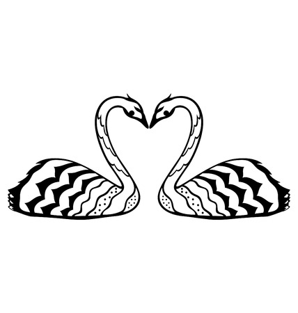 A decorative swans in love, illustrated in paper cut style. Stock Vector - 8568879