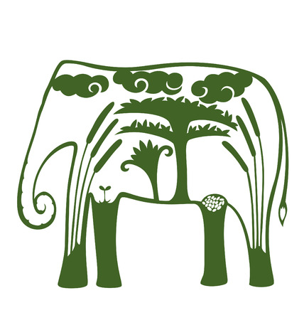 paper cutting: An elephant shape filled with natural object like tree, cloud and wild flower. Illustration