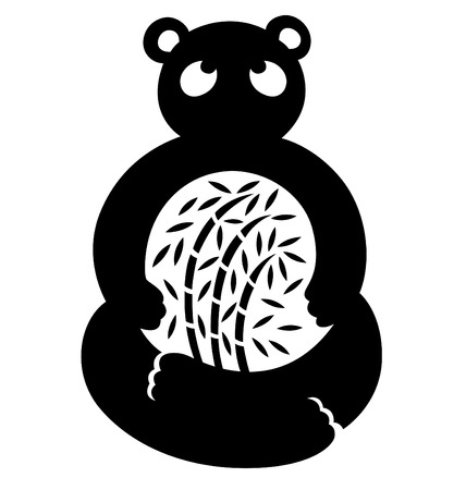 A simplified panda looking up and illustrated with bamboo in the middle part. Stock Vector - 8703005