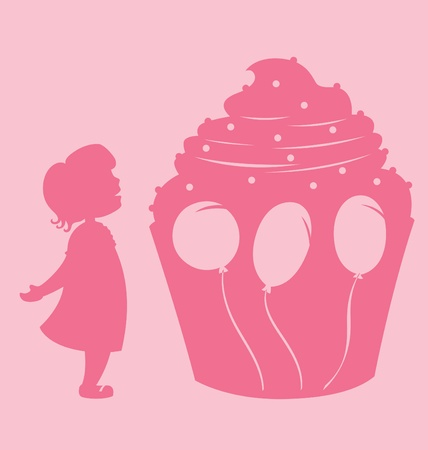 A little girl happily looking at a giant cupcake decorated with birthday balloons. Vector