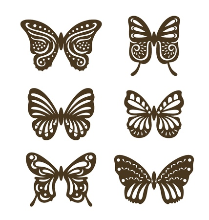 Set of decorative butterfly, decorated with organic shape papercut style. Illustration