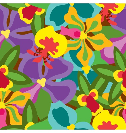 A group of tropical orchids creating a seamless pattern. Vector