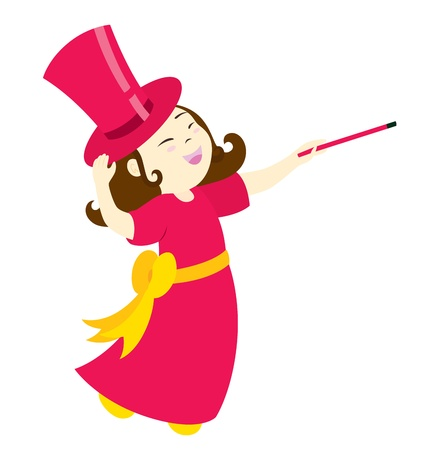 A little magician girl character touching her hat smiling and holding out her wand.
