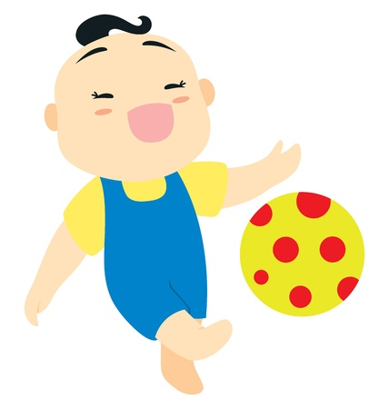 jumpsuit: A little baby boy character playing with his red dotted ball.