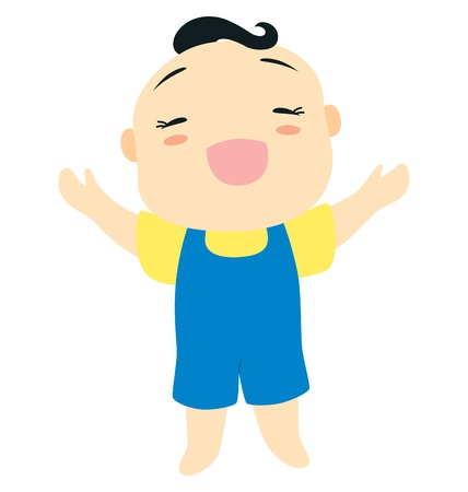 jumpsuit: A little baby boy character standing holding up his both hand and smile happily. Illustration