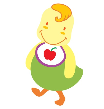A little baby chick character wearing an apple napkin and smile wide. Stock Vector - 9828984