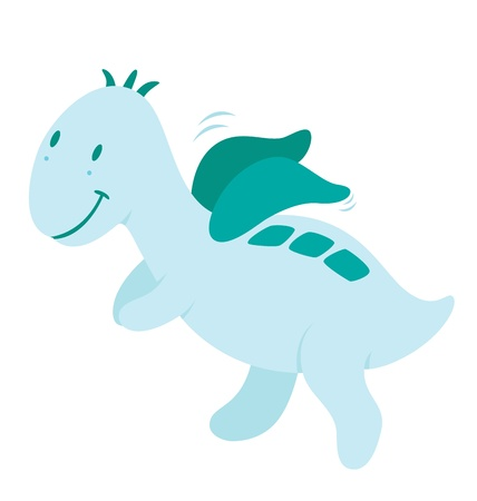 dinosaurus: A little dinosaurus with wings and flying happily.