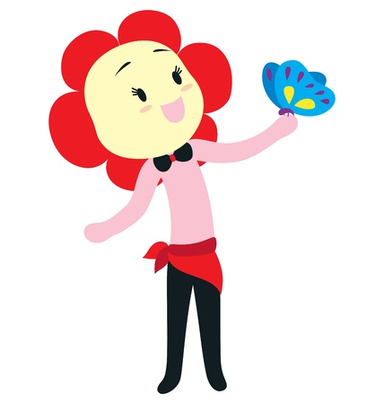 letting: A female character with a flower shape head and a black bow tie, letting a butterfly sitting on her hand. Illustration