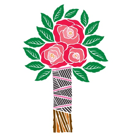 wall decal: A bunch of red roses with leaves tied together, illustrated with cut out style. Illustration