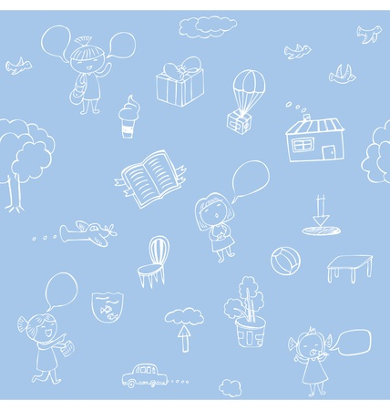 Seamless pattern of hand sketches illustration about nature and travelling. Vector