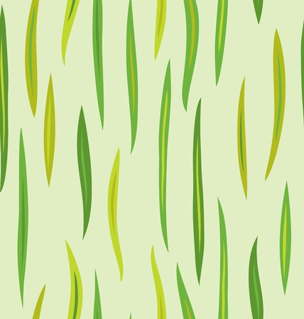 Seamless pattern design of long leafs in different tone of green. Vector